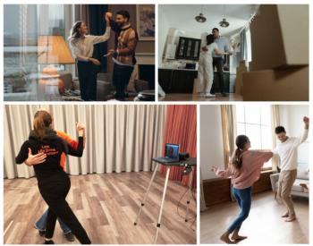 4 Bilder in einer Collage, 3 Paare tanzen Zuhause, Traiiner Tanzen im Studio vor einem Bildschirm